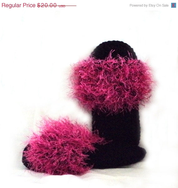 Black and Hot Pink Flip Furs