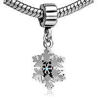 Pugster Snowflake Dangle Style Pandora Beads