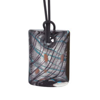 Pugster Silver Foil Murano Glass Rectangle With Brown And Turquoise Stripes Summer Pendants