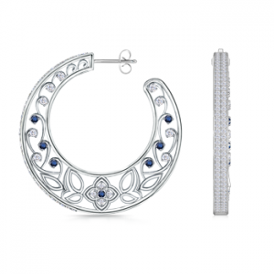 Round-Sapphire-and-Diamond-Latticed-Hoop-Earrings