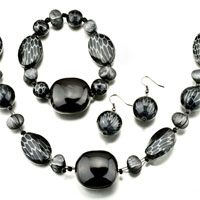 Pugster Black Necklace Bracelet And Earrings Set Pendant