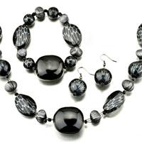 Pugster Black Necklace Bracelet And Earrings Set Pendant