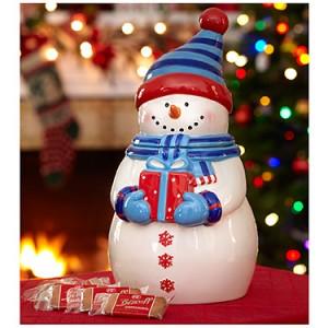 Snowman Cookie Jar with Biscoff