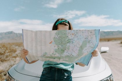 woman looking at the map